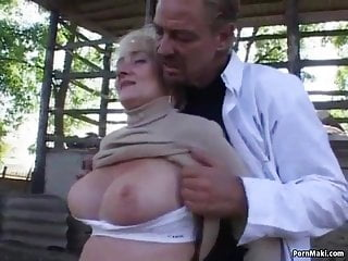 Bayn yard sex Busty granny gets pounded in the back yard