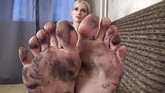 Beautiful dirty feet cleaning