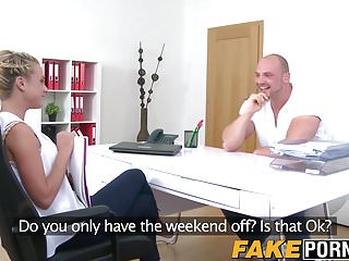 Sexy female hairstyle - Athletic stud and sexy female casting agent have a fuck fest