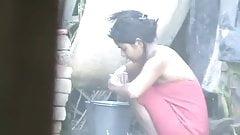 wow... awesome desi village beauty bathing outside