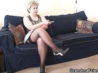 Old hot grandma sucks cock - Hot grandma warms up before swallowing two cocks