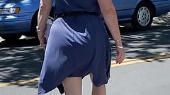 Mature Pawg Milf BBW Panty Lines Blue Dress Wide Hips Gilf