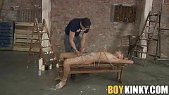 Jock jerked off hard while hot wax gets poured all over him