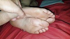 Cum on her pretty soles 9