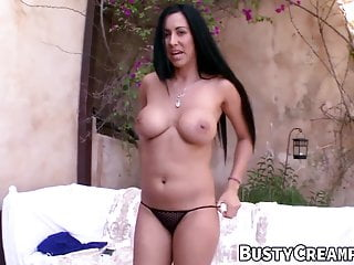 Interracial big tit creampie - Busty oiled babe pleasures a big cock before riding it