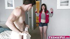 Creampied teen Terra Cox knows how to deepthroat big dick