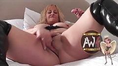 British bareback MILF slut squirts as gangbanged by 6 guys