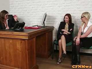 Mater black office sex Glamorous office femdoms sucking black sub