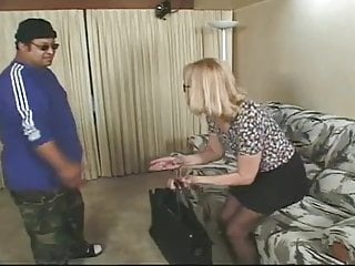 Jaylinn lace stripper Blonde granny in glasses and lace top stockings fucks