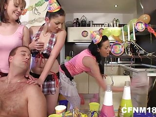 Lesbian birthday greeting - Six horny and cock-starved birthday party having a cfnm