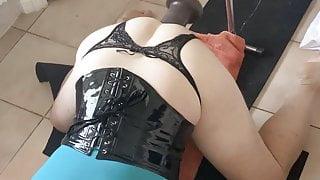 Big dildo using my big ass