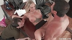 Sissy Hubby Watches Busty Blonde Wife Gets Eaten And Fucked
