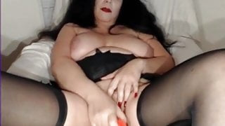 Check My MILF Mature wife in black stockings with toy