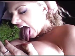Titfuck until cum - Titfucks her until he pops on her tongue.