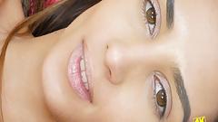 Appealing brunette slowly caresses hot body 4K Closeup