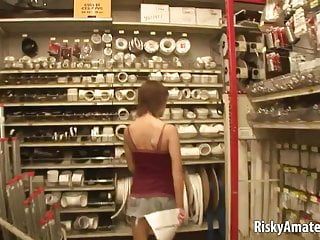 Sexy super store - Sexy girl next door masturbating in the store