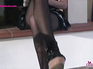 Girl loves her rt pantyhose toes Redhead schoolgirl teases with her five toes pantyhose