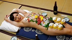 Japanese gal Asuka Ayanami is a food plate, uncensored
