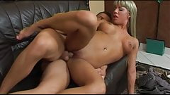 Sexy blonde with bouncy tits eats cumload finale