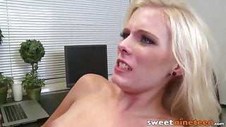 Blonde 19yo Elaina Page fucked and facialized in the office
