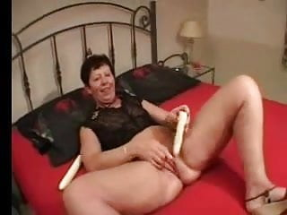 Nail biting thumb sucking Red nails granny fingers toys and spreads then sucks a cock
