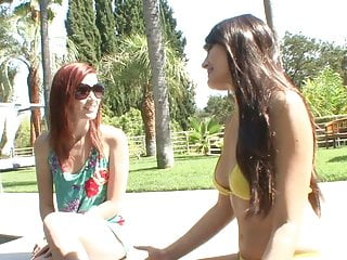 By side bottom freezer commercial - Lesbian brunette and redhead babes masturbate side by side on the couch