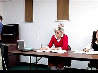 Female tit suspension Kiki and stela in school suspension with the dean full-edit