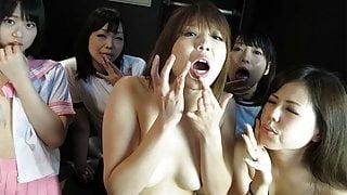 Hot hostess Yuri Sakura and her friends suck hairy pricks