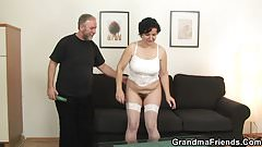 Threesome with horny old lady in white lingerie