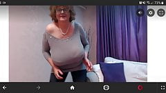 Mature busty camgirl dances and shows tits