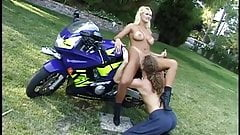 CLASSIC: Biker fucks blonde slut on his ninja cycle