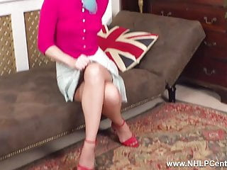 Vintage stiletto - British blonde wanks in vintage nylons girdle stiletto heels