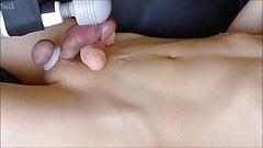 Japanese guy's shaved penis masturbation No.4
