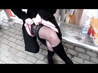 You tube upskirt dress chinese ladies - Lady in pink dress and black fishnet stockings
