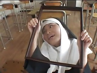 Nun gets spanked Nun gets a tribute and eats it