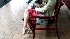 Candid Blonde Sexy Legs and Feet in Slingbacks