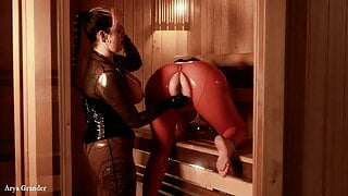Femdom – Submissive Training in Latex, Pussy fuck, FREE porn video