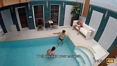 HUNT4K. Slim brunette has sex with stranger by the pool