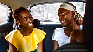 African Lesbians Flirting in Taxi Pussy Eating in Bedroom