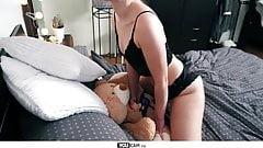 She fucks her teddy bear with a black strapon dildo