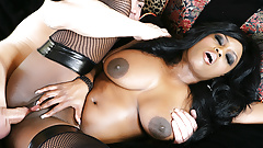 Natural Tits Black Momma Jada Fire Milks His Big White Shaft