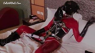 Self-bondage in latex vacuum stepmummy . femdom Play