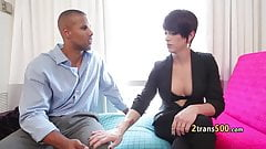 Shy tranny fucked by muscular stud