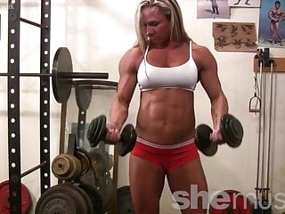 Sexy topless models female Topless female bodybuilder with amazing physique in the gym