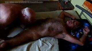 Grandpa sucking a hairy daddy