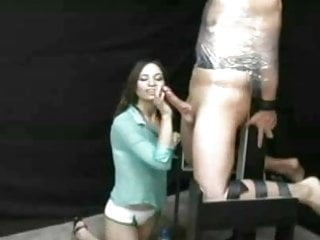 Senior top bdsm Sadistic girl gives cock torture handjob