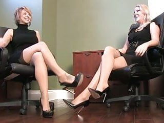 Guys with foot fetish - One guy worship the nylon feet of two secretarys