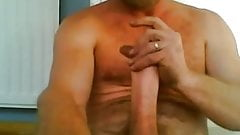 Sexy daddy works his dick on cam