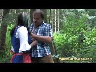 Artist yellow strip in mountain - Black girl in mountain threesome