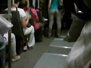 See thru public pussy Girls ass with see thru pants in public transport